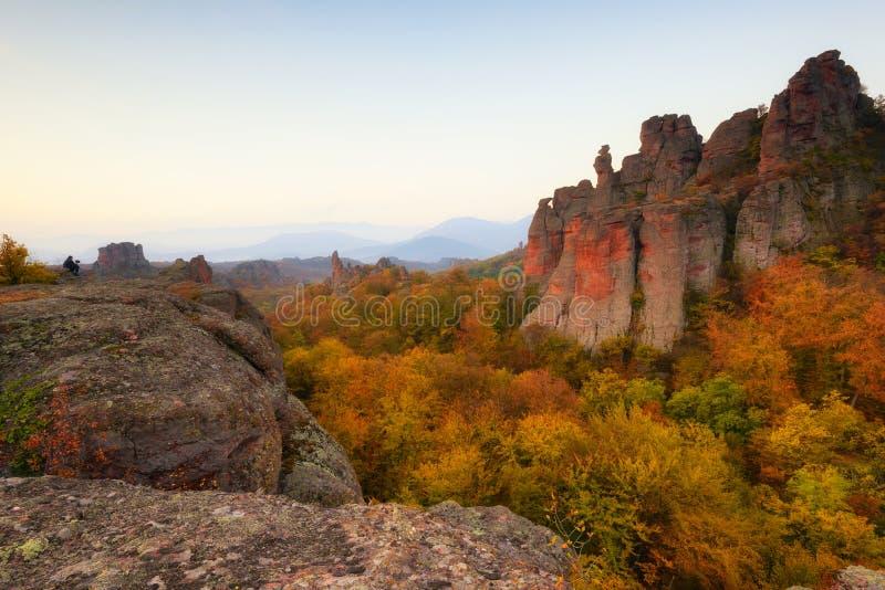 Belogradchik Bułgaria, Październik, – 21, 2018: Belogradchik skały Wspaniały ranku widok Belogradchik kołysa w Bułgaria fotografia royalty free