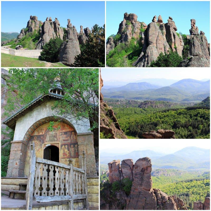 The Belogradchik Rocks and Chapel stock image