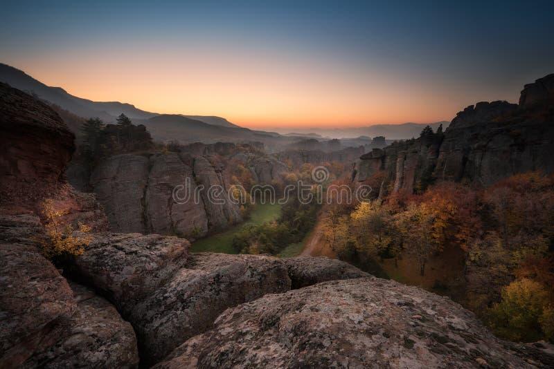 Belogradchik rocks at dawn stock images