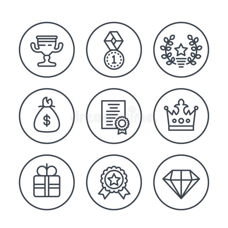 Belohnungs- und Preislinie Ikonen auf Weiß stock abbildung