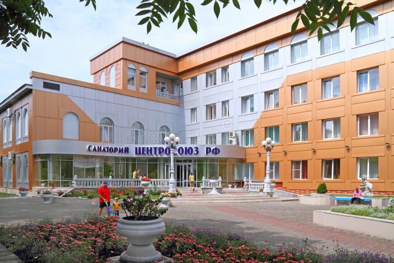 Sanatorium of the Centrosoyuz of the Russian Federation in the resort of Belokurikha in the Altai territory. Belokurikha, Russia-JULY 27, 2011: building of the royalty free stock photo