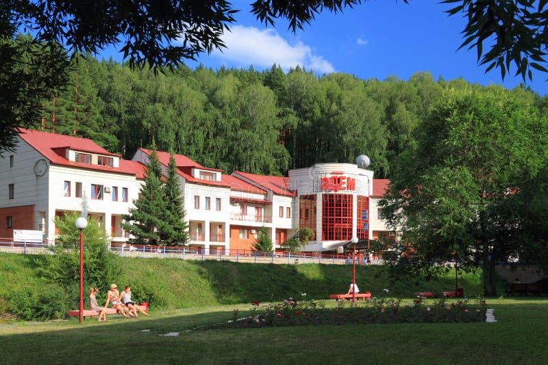 Edem sanatorium in Belokurikha resort in the Altai territory of the Russian Federation. Belokurikha, Russia-JULY 18, 2011: Edem sanatorium Building at the stock photo