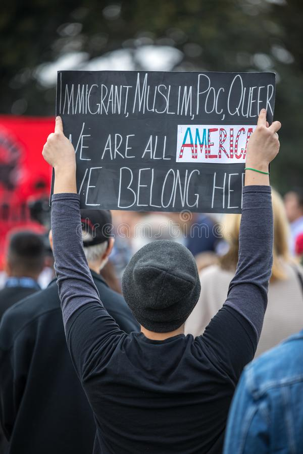 We belong here Immigration policy. BEVERLY HILLS, CALIFORNIA - MARCH 12, 2018: Protesters at the Defend Dreamers Rally hosted by Coalition for Humane Immigrant stock images