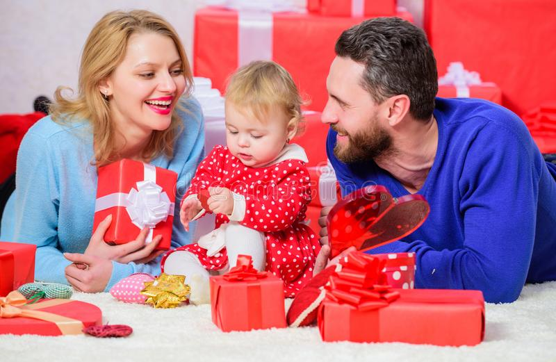 They belong together. father, mother and doughter child. Shopping online. Boxing day. Valentines day. Happy family with. Present box. Love and trust in family royalty free stock photography