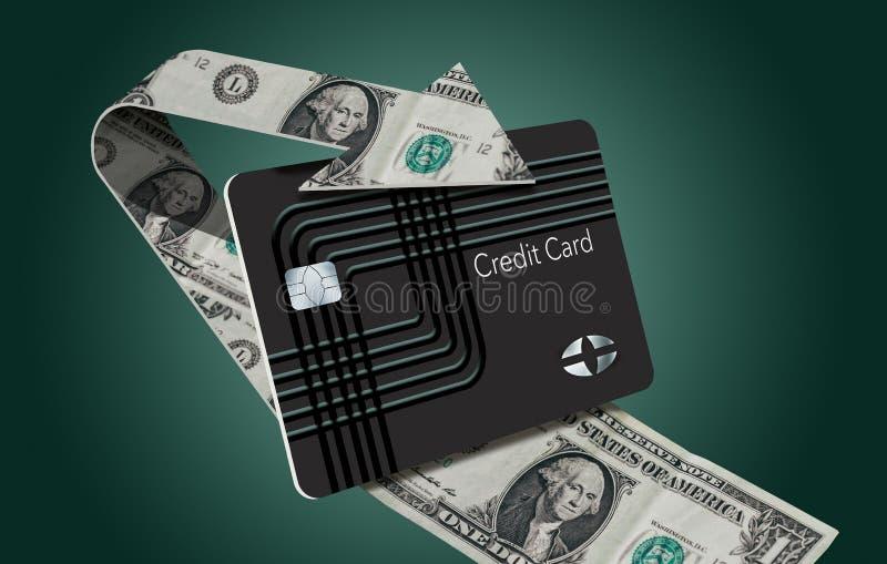 Beloningen van de contant geld zijn de achtercreditcard hier geïllustreerd met een van een lus voorziende die pijl van dollarreke royalty-vrije illustratie