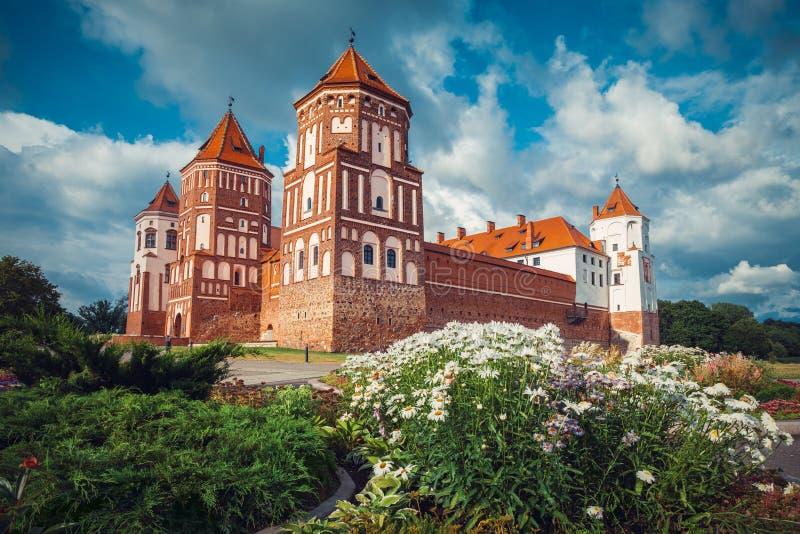Belorussian tourist landmark attraction Mir Castle at summer. Season royalty free stock image