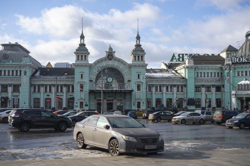 Belorussky驻地的看法从特韦尔大街的 Belorussky铁路终端是莫斯科九个铁路终端之一  免版税库存图片