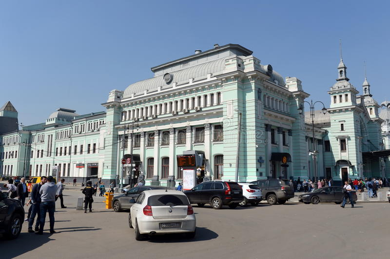 Belorussky Railway Station on a cloudless day. stock photo