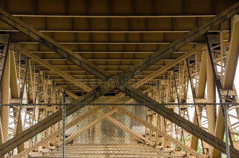 Below a Bridge. View from below the Burnside Bridge in Portland, Oregon stock images