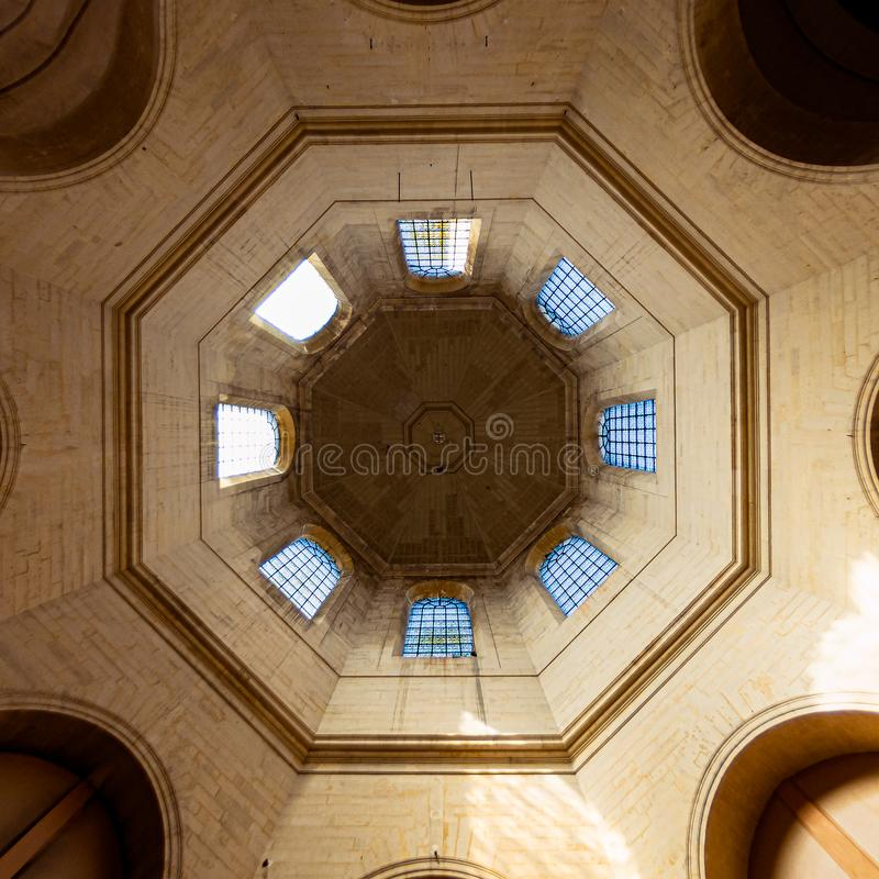 Below the dome of the church Saint Louis of Paris. Dome of the Saint Louis de Paris church located inside the hospital Pitie Salpetriere in the 13th stock photo