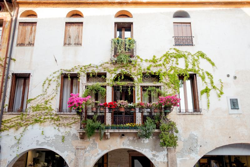 Below frontal view of medieval italian building with flowers and arcade and ivy on the walls on summer day sunset royalty free stock photography