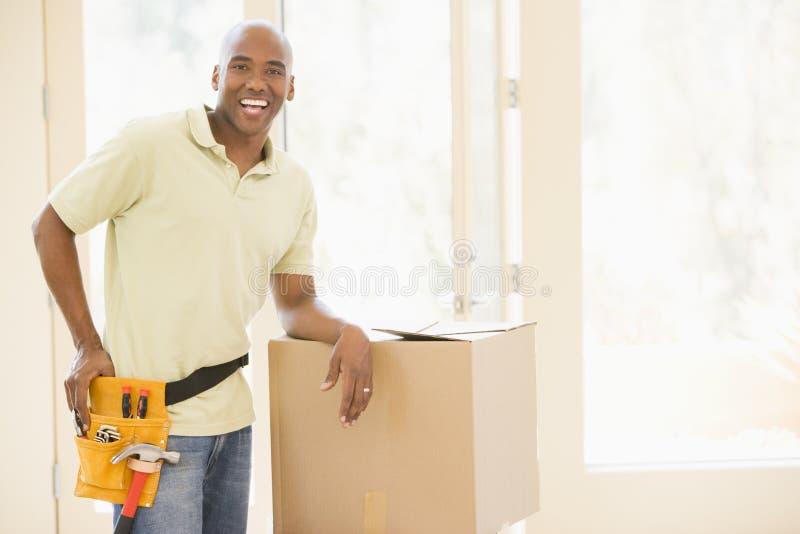 belt boxes home man new tool wearing στοκ εικόνα