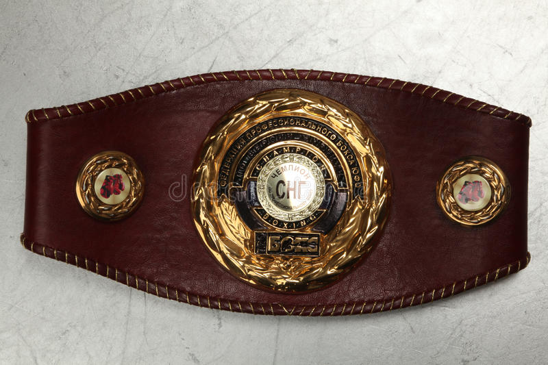 A belt of the champion on Boxing. NA belt of the champion on Boxing under the version of magazine about box Commonwealth of independent States stock photography
