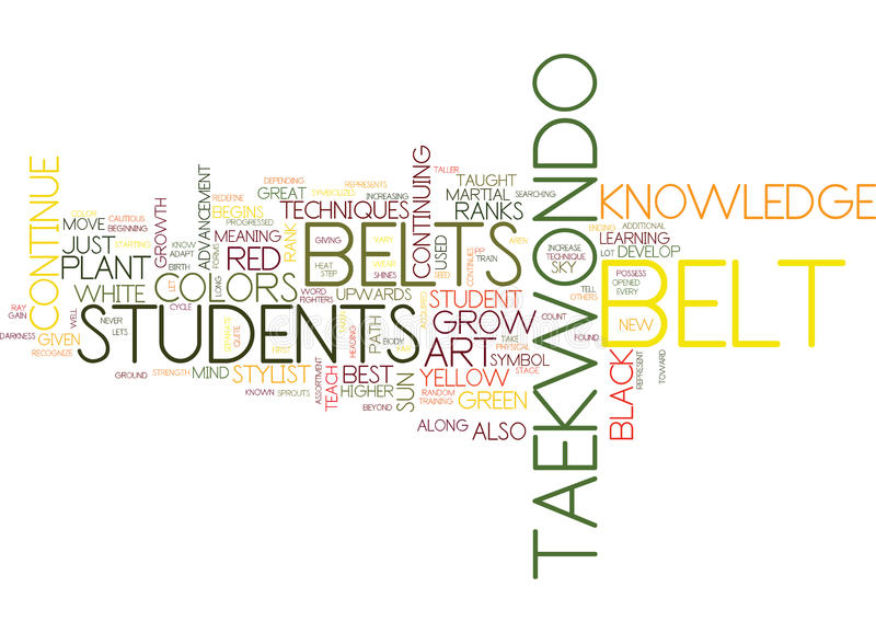 The Belt Colors Of Tae Kwon Do Text Background Word Cloud Concept stock illustration