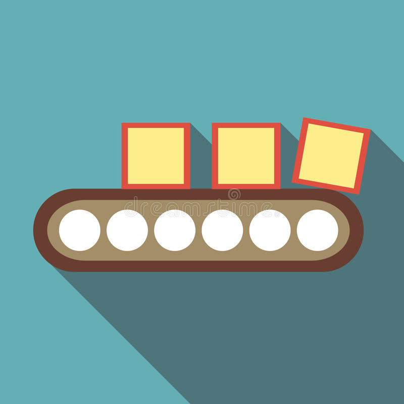 Belt conveyor with load icon, flat style. Belt conveyor with load icon. Flat illustration of belt conveyor with load vector icon for web vector illustration