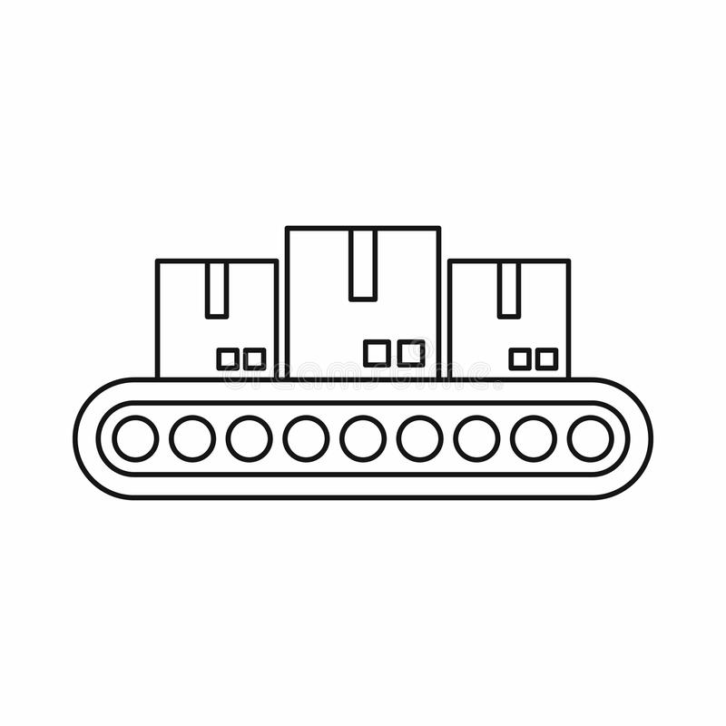 Belt conveyor with load icon, outline style. Belt conveyor with load icon in outline style isolated on white background. Shipping symbol royalty free illustration