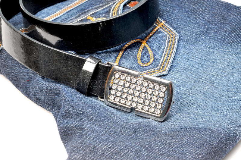 Download Belt on jean stock image. Image of dress, label, style - 9742183