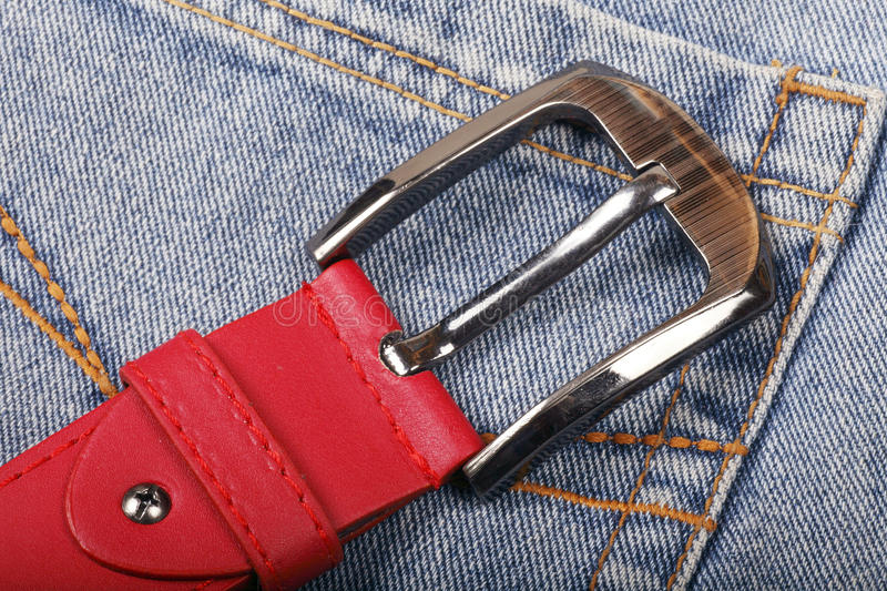 Belt on jeans royalty free stock photos