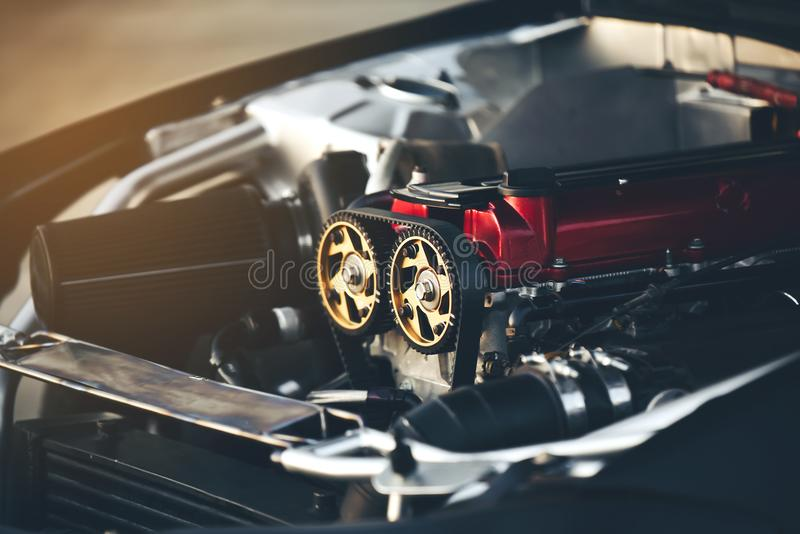 Belt motors are an essential component of a car racing car. Belt motors are an essential component of a racing car royalty free stock image