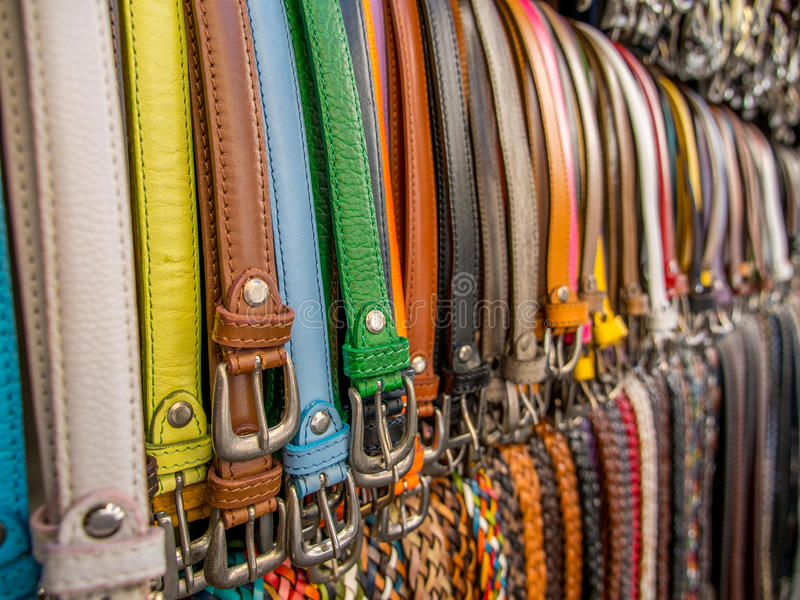 Belts. In a market in Rome in summer stock photo
