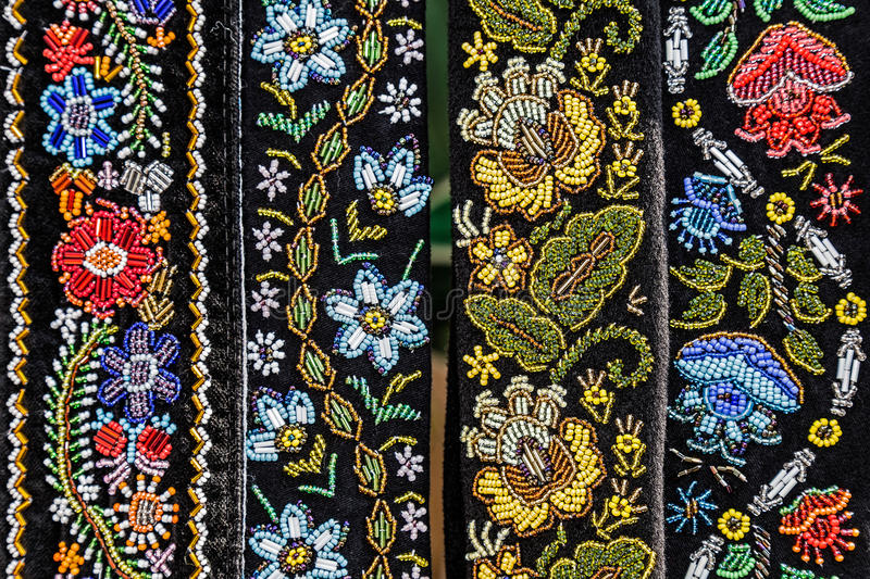 Belts for women embroidered traditional with Romanian patterns. From Bistrita Nasaud area royalty free stock image