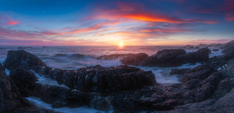 Beluga Rock sunset panorama. This is a panoramic photo of Beluga rock sunset stock images