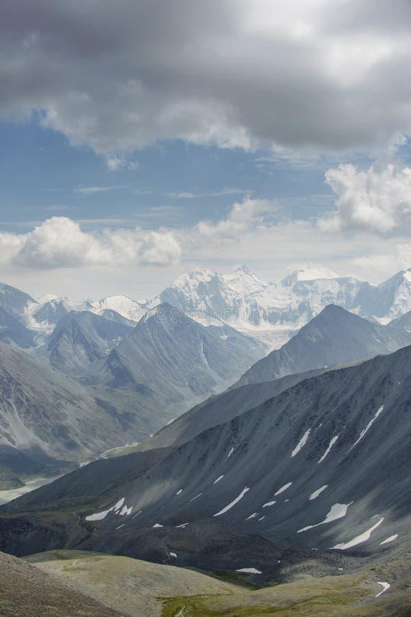 Beluha góra, przepustka Karaturek Altai, Rosja zdjęcie stock