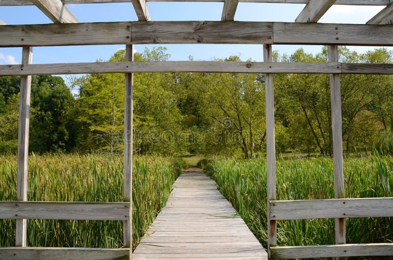 Belvédère de Cornell Botanical Garden Houston Pond image libre de droits