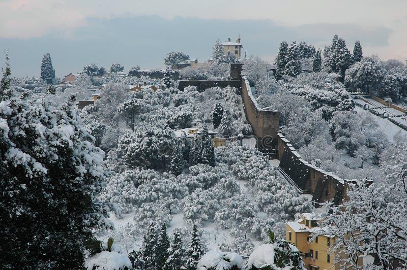 Belvédère de forte à Florence avec la neige image stock