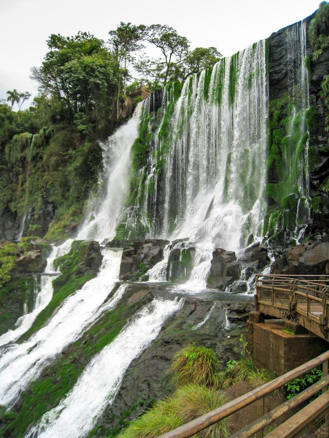 Belvédère en bois à côté des cascades avec la végétation dans Iguazu image stock