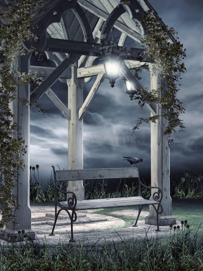 Belvédère en bois la nuit illustration de vecteur