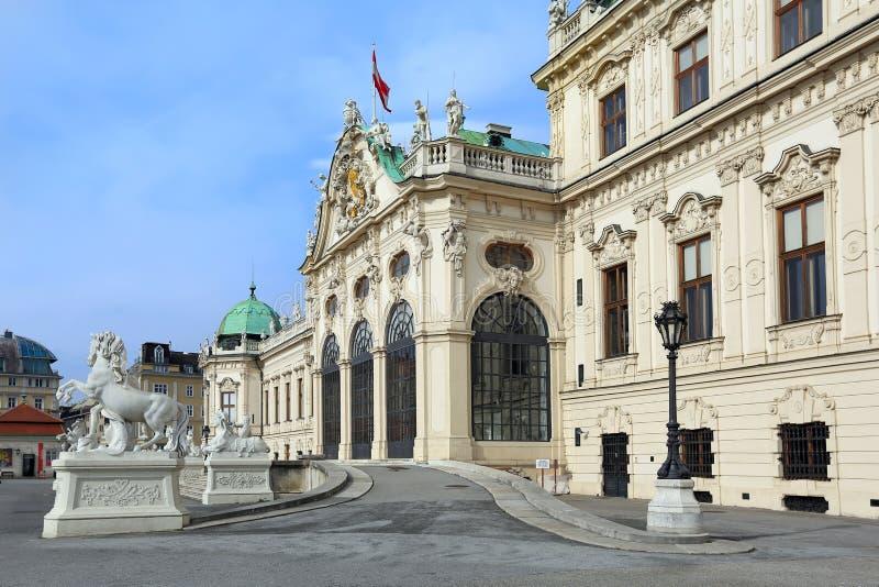 Belvédère supérieur de palais dans le style baroque à Vienne, Autriche images libres de droits