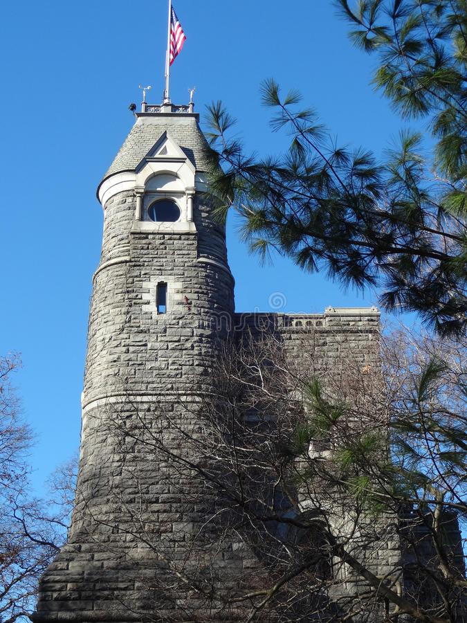 Belvedere Castle in Central Park (Visitor Center). The tower at Belvedere Castle in Central Park, Manhattan, New York City - The National Weather Service uses stock photo