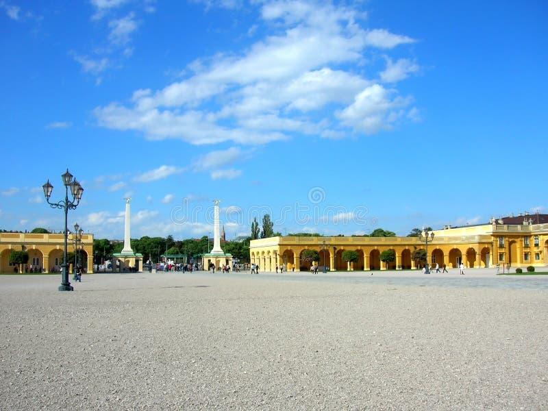 Belvedere is een historische complexe reeks op een park, die uit vier gebouwen bestaan Beroemde plaats voor toerist in Wenen royalty-vrije stock afbeelding