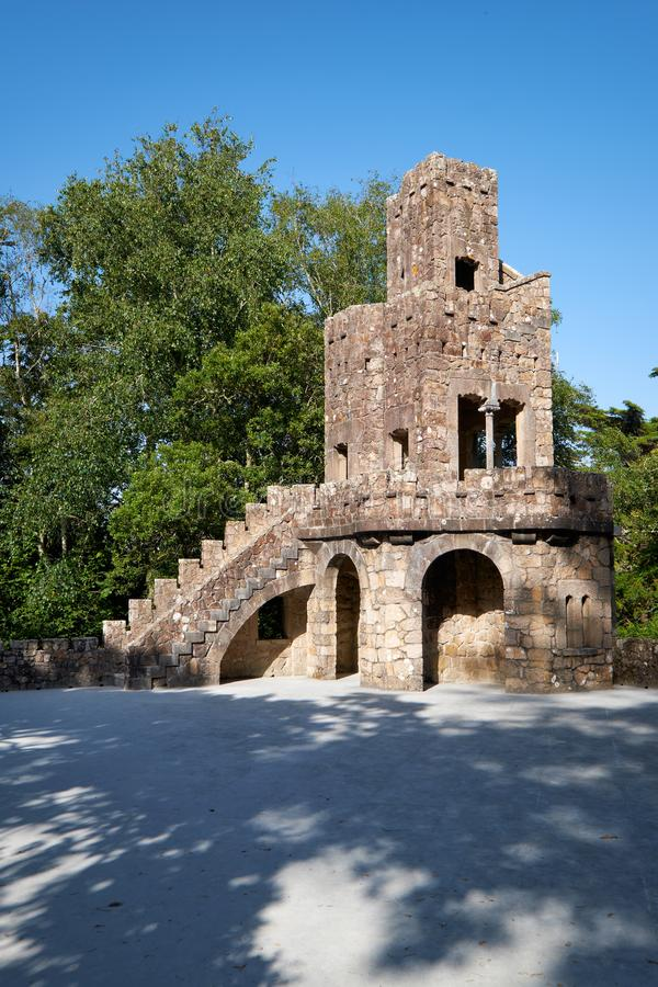 The belvedere beside the Lake of Waterfall in Quinta da Regaleira estate. Sintra. Portugal stock photos