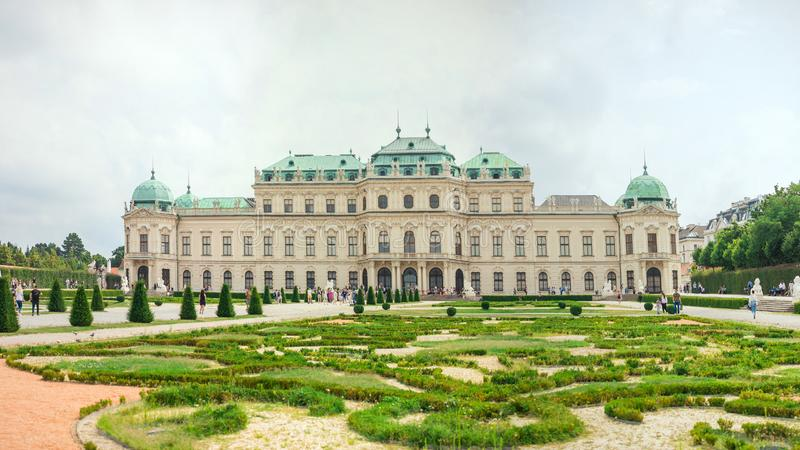 Belvedere Palace with garden in front, Vienna, Austria.  stock photos
