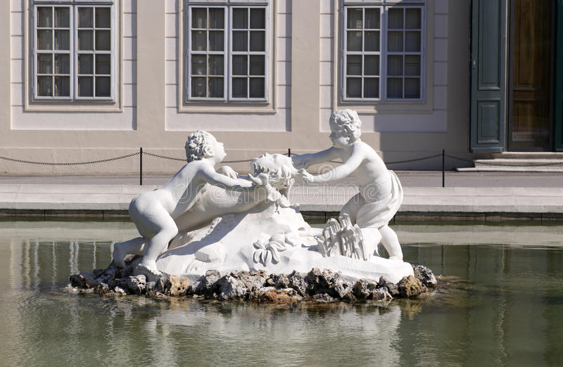 The Belvedere. Palace`s garden. The Belvedere is a baroque palace complex built by Prince Eugene of Savoy. Garden royalty free stock photography