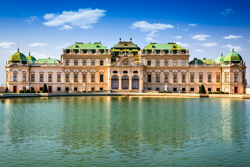 Belvedere, Vienna Austria. Vienna, Austria. Beautiful view of famous Schloss Belvedere summer residence for Prince Eugene of Savoy, in Wien capital of Habsburg stock image
