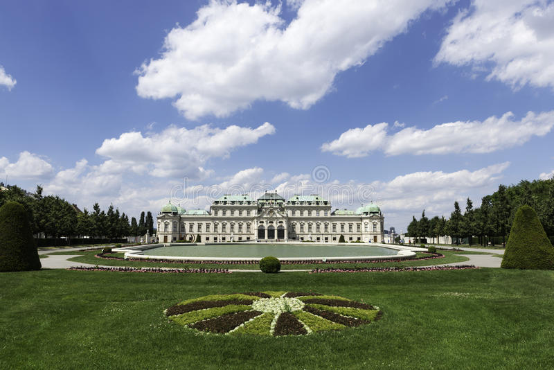 Belvedere, Vienna. Unidentified tourists walking around the entrance to the upper Belvedere Palace in Vienna, part of a bigger complex that includes two Baroque royalty free stock photo
