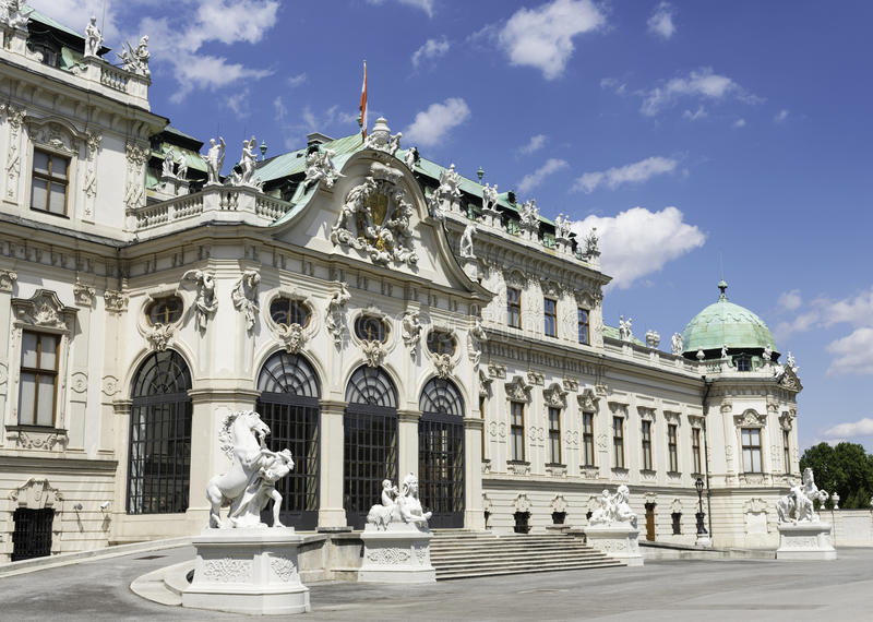 Belvedere, Vienna. View of the entrance to the upper Belvedere Palace in Vienna, part of a bigger complex that includes two Baroque Palaces, the Orangery, and royalty free stock image