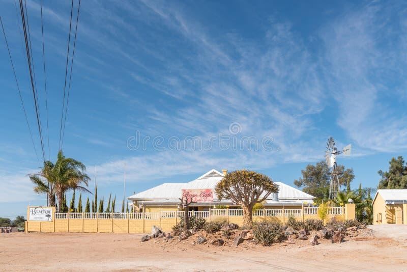 Belwederu pensjonat i Różana kawiarnia w Kakamas obraz royalty free