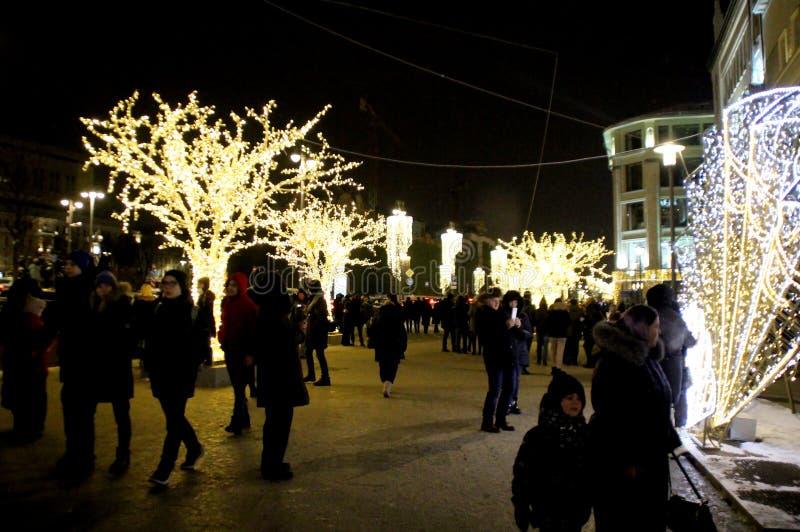 Belysning för jul och för nytt år i Moskva royaltyfri bild