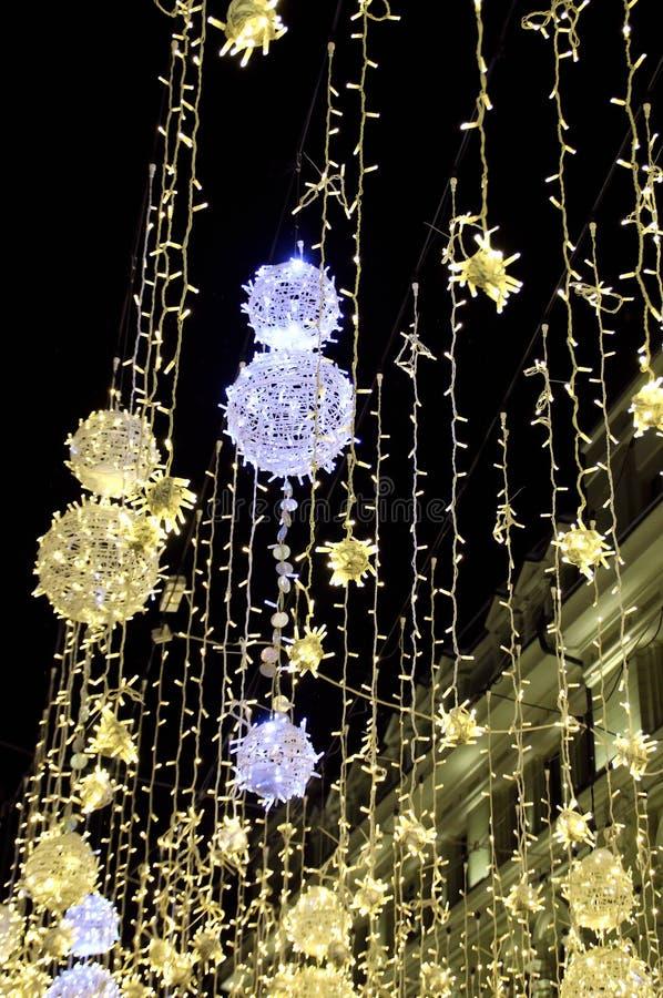 Belysning för jul och för nytt år i Moskva royaltyfri fotografi