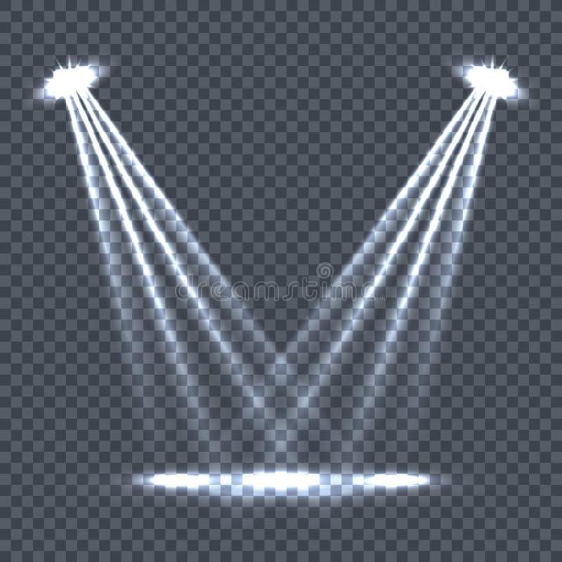 Belysning med ljusa effekter på stordian stock illustrationer