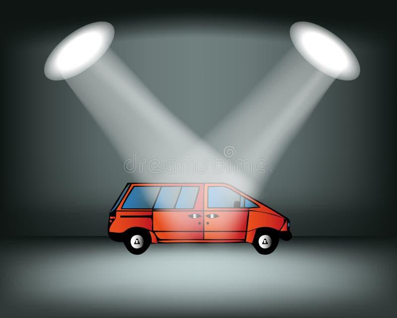 Belysningetapp, podium, auto show Bilutställning Röd bil också vektor för coreldrawillustration stock illustrationer