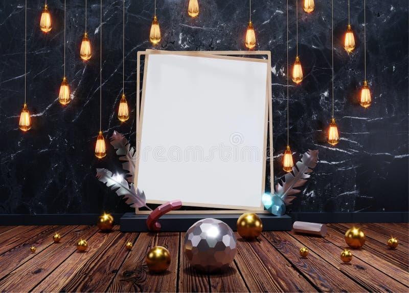 Belysningkulor som hänger på den svarta grungeväggen med den tomma fotoramen, fjädern och kristallbeståndsdelar vektor illustrationer