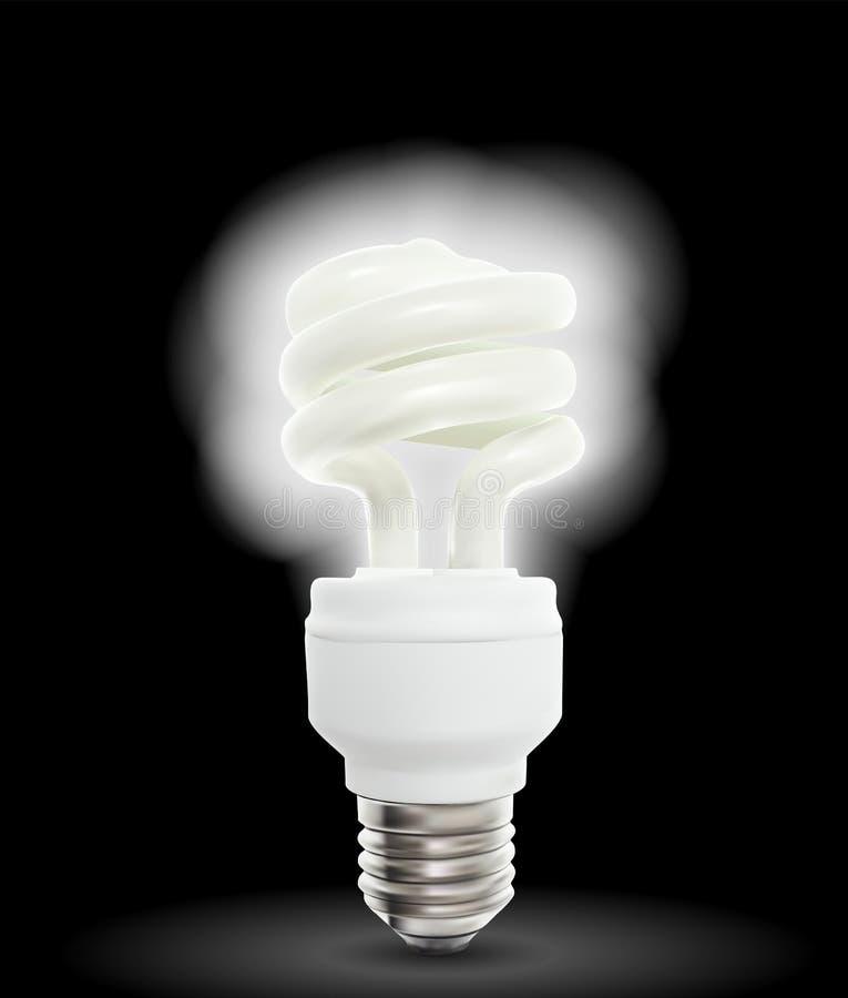 BelysningPowersavelampa på svart bakgrund också vektor för coreldrawillustration stock illustrationer