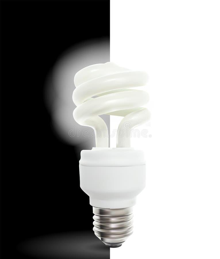 BelysningPowersavelampa på svartvit bakgrund också vektor för coreldrawillustration stock illustrationer