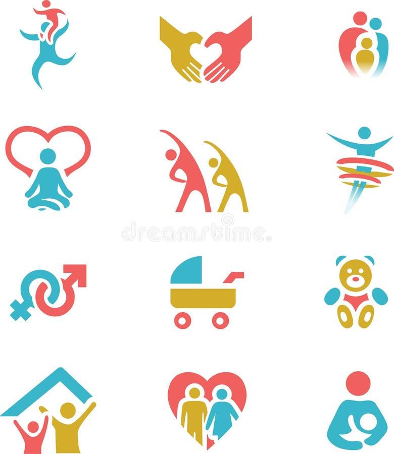 Família e ilustração ajustada do vetor do ícone da saúde