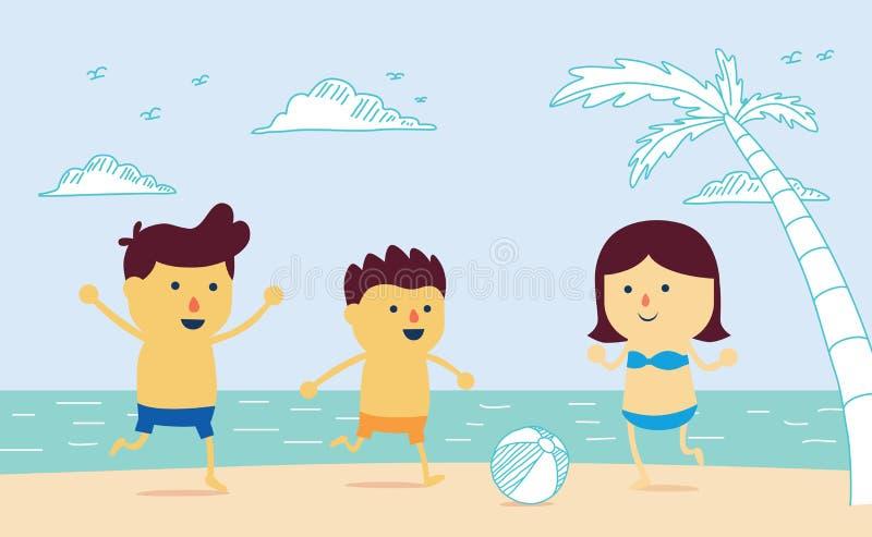 Bem estar com a bola do jogo na praia ilustração do vetor